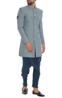 Grey pinstripe organic cotton & bamboo fabric sherwani jacket