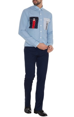 Light blue cotton machine embroidered slim fit shirt