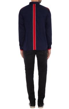 Navy blue cotton solid slim fit jacket shirt