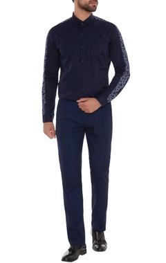 Navy blue cotton machine embroidered slim fit shirt
