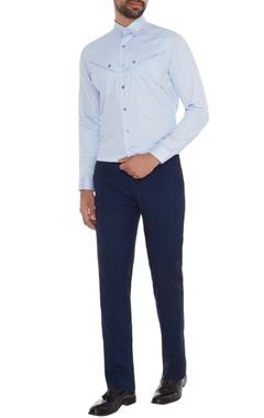 Light blue cotton button detailing slim fit shirt