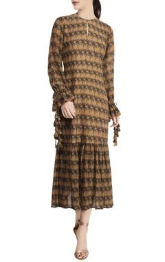 Masaba Beige repier cotton printed island breeze drop waist dress