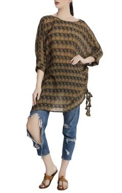 Beige repier cotton printed island breeze blouse