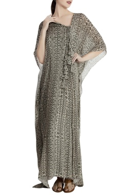 Grey chiffon abstract printed pleated kaftan