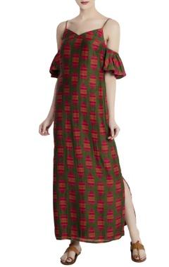 Red malwari linen printed cold-shoulder maxi dress