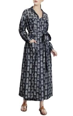 Masaba Teal blue denim jacquard printed trench jacket dress