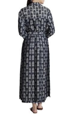 Teal blue denim jacquard printed trench jacket dress