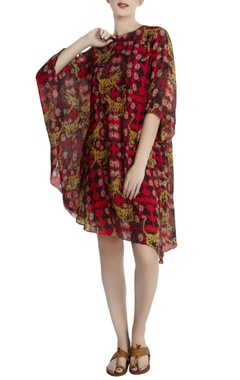Red repier cotton tiger & lily printed asymmetrical dress