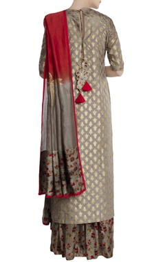 Grey silk, satin & chanderi kalash print sharara with kurta & dupatta