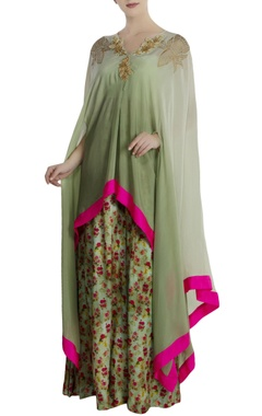 Mint green crepe & satin embellished tunic with skirt