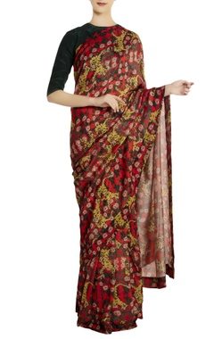 Red silk tiger & lily print saree with green blouse piece