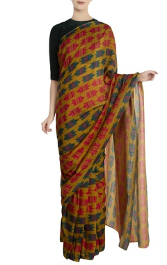 Green nile crocodile motif sari with unstitched blouse piece