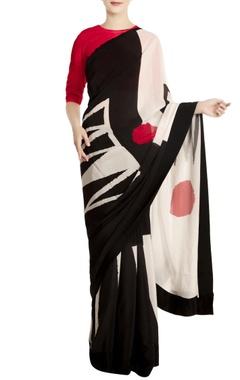 Black & white bindi motif sari with unstitched blouse piece