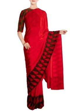 Red crepe silk red sari with blouse piece
