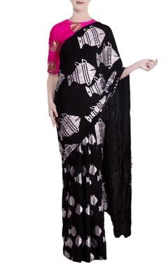 Masaba Black heritage fish motif saree with pink blouse piece