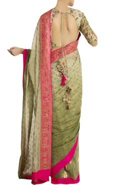 Mint green fish motif pleated sari with blouse piece