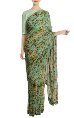 Masaba Aqua chiffon silk floral saree with unstitched blouse