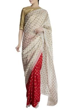 Masaba Red & ivory chanderi silk saree with brocade blouse