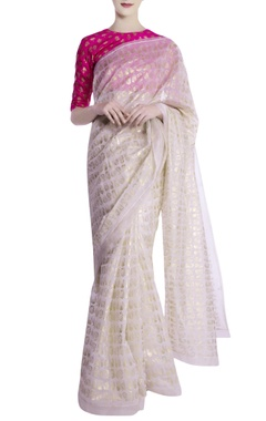 Masaba Ivory khadi leaf motif saree with blouse piece