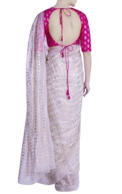 Ivory khadi leaf motif saree with blouse piece