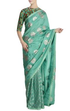 Masaba Aqua silk kailash & tribal vase saree with unstitched blouse