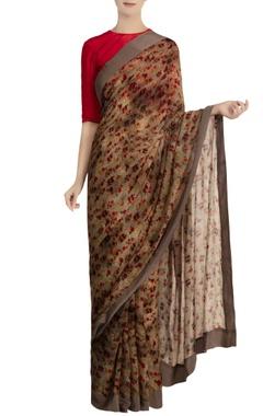 Masaba Grey chiffon silk floral printed saree with red blouse piece