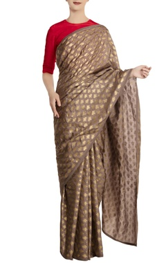 Grey kailash khadi saree with red blouse piece