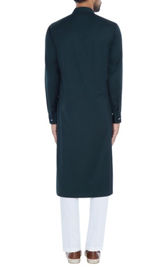 Green achkan style asymmetric kurta with pyjama pants