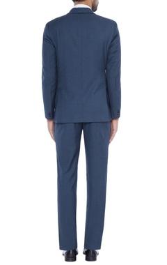 Steel grey asymmetric suit with floral applique panels