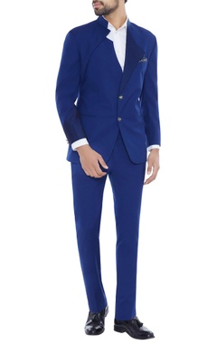 German blue contrast patterned lapel blazer with pants