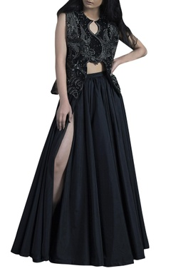 Siddhartha Tytler Black polyester panelled umbrella skirt