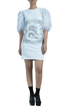 Siddhartha Tytler Light blue knit herringbone embellished caged dragon dress