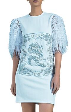 Light blue knit herringbone embellished caged dragon dress
