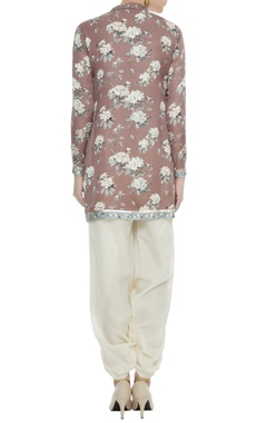Brown satin slub mirror sequin work short kurta with off white cotton dhoti