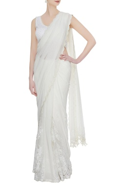 Arpan Vohra Ivory georgette & lace pearl embroidered tiered lehenga saree with blouse