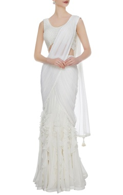 Arpan Vohra Ivory georgette & tulle ruffled pre-stitched lehenga saree with embellished blouse