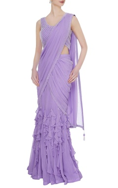 Arpan Vohra Lilac georgette & tulle ruffled pre-stitched lehenga saree with embellished blouse