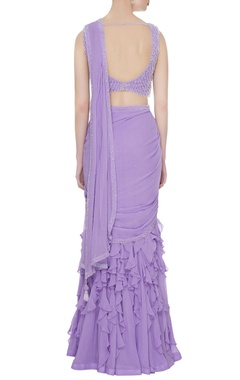 Lilac georgette & tulle ruffled pre-stitched lehenga saree with embellished blouse