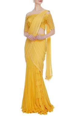 Arpan Vohra Mustard yellow georgette & lace ruffled pre-stitched lehenga saree with off-shoulder lace blouse
