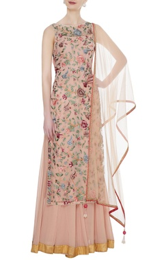 Peach georgette floral hand embroidered kurta with sharara & dupatta