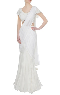 Arpan Vohra Ivory georgette ruffled pre-stitched lehenga saree with blouse