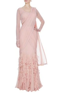 Arpan Vohra Peach georgette & tulle ruffled pre-stitched lehenga saree with embellished blouse