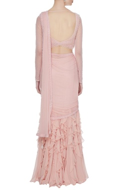 Peach georgette & tulle ruffled pre-stitched lehenga saree with embellished blouse