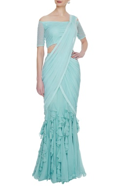 Arpan Vohra Mint blue georgette & tulle ruffled pre-stitched lehenga saree with blouse