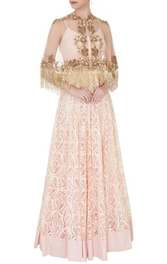 Peach net, crepe & shantoon tassel cape blouse & embroidered skirt