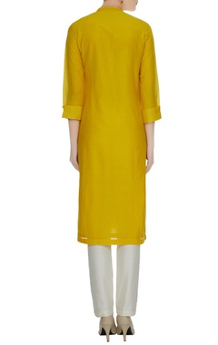 Mustard yellow cotton silk kurta in floral patchwork