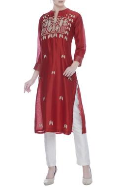 Red silk chanderi silver & golden zari worktunic
