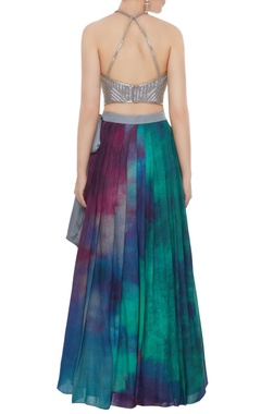 Multi-colored cotton silk & tussar georgette hand embroidered crop top with printed skirt