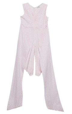 Baby pink striped cotton jumpsuit