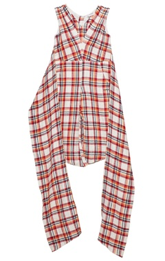 Tomato red cotton chequered jumpsuit